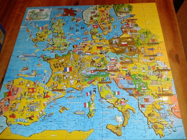 Completed map of Europe puzzle with a missing piece