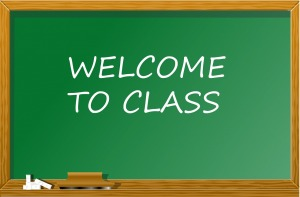 chalkboard with welcome text