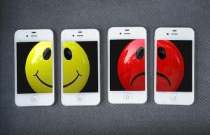 smilehy face and an unhappy face